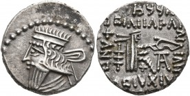 KINGS OF PARTHIA. Mithradates V, circa AD 140. Drachm (Silver, 18 mm, 3.73 g, 12 h), Ekbatana. Diademed and draped bust of Mithradates V to left. Rev....