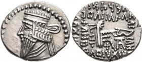KINGS OF PARTHIA. Mithradates V, circa AD 140. Drachm (Silver, 20 mm, 3.74 g, 12 h), Ekbatana. Diademed and draped bust of Mithradates V to left. Rev....