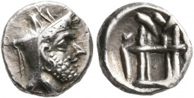 KINGS OF PERSIS. Uncertain king, 2nd century BC. Obol (Silver, 8 mm, 0.60 g, 2 h), Istakhr (Persepolis). Male head to right, wearing diadem and kyrbas...