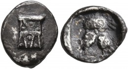 BAKTRIA, Local Issues. Circa 295/3-285/3 BC. Obol (Silver, 10 mm, 0.73 g, 3 h), local standard, uncertain mint in the Oxus region. Kalathos. Rev. Doub...