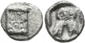 BAKTRIA, Local Issues. Circa 295/3-285/3 BC. Obol (Silver, 9 mm, 1.00 g, 3 h), local standard, uncertain mint in the Oxus region. Kalathos. Rev. Doubl...