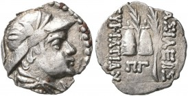 BAKTRIA, Greco-Baktrian Kingdom. Eukratides I, circa 170-145 BC. Obol (Silver, 10 mm, 0.52 g, 12 h), Baktra or an uncertain mint in the Paropamisadai ...