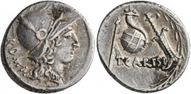 T. Carisius, 46 BC. Denarius (Silver, 17 mm, 3.69 g, 7 h), Rome. ROMA Head of Roma to right, wearing ornate helmet and elaborate necklace. Rev. T•CARI...