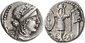 Julius Caesar, 49-44 BC. Denarius (Silver, 17 mm, 4.11 g, 1 h), military mint traveling with Caesar in Illyria (Apollonia?), early to mid 48. Diademed...
