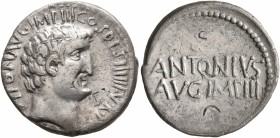 Mark Antony, 44-30 BC. Denarius (Silver, 19 mm, 3.71 g, 12 h), military mint moving with Antony, probably Athens, 32 BC. ANTON AVG IMP III COS DES III...
