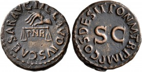 Claudius, 41-54. Quadrans (Copper, 17 mm, 3.11 g, 6 h), Rome, 25 January-3 December 41. TI CLAVDIVS CAESAR AVG Hand to left holding scales; below, P N...