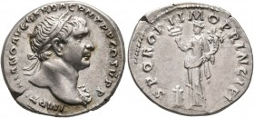 Trajan, 98-117. Denarius (Silver, 19 mm, 3.53 g, 6 h), Rome, 106-107. IMP TRAIANO AVG GER DAC P M TR P COS V P P Laureate head of Trajan to right, wit...