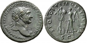 Trajan, 98-117. As (Copper, 27 mm, 12.09 g, 7 h), Rome, 106-107. IMP CAES NERVAE TRAIANO AVG GER DAC P M TR P COS V P P Laureate head of Trajan to rig...