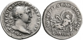 Trajan, 98-117. Denarius (Silver, 18 mm, 3.27 g, 7 h), Rome, 107-108. IMP TRAIANO AVG GER DAC P M TR P Laureate head of Trajan to right, with slight d...