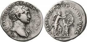 Trajan, 98-117. Denarius (Silver, 20 mm, 3.17 g, 6 h), Rome, 111. IMP TRAIANO AVG GER DAC P M TR P Laureate head of Trajan to right, with sligth drape...
