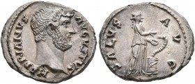 Hadrian, 117-138. Denarius (Silver, 17 mm, 2.17 g, 6 h), a contemporary imitation of an issue from Rome, after 135. HADRIANVS AVGVSTVS Bare head of Ha...