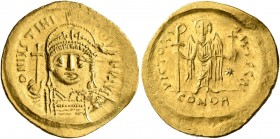 Justinian I, 527-565. Solidus (Gold, 21 mm, 4.49 g, 7 h), Constantinopolis, 545-565. D N IVSTINIANVS P P AVI Helmeted and cuirassed bust of Justinian ...