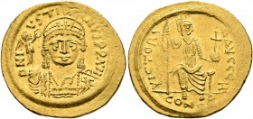 Justin II, 565-578. Solidus (Gold, 21 mm, 4.48 g, 6 h), Constantinopolis, 566/7-578. D N IVSTINVS P P AVI Helmeted and cuirassed bust of Justin II fac...