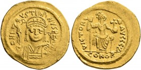 Justin II, 565-578. Solidus (Gold, 21 mm, 4.37 g, 7 h), Constantinopolis, 566/7-578. D N IVSTINVS P P AVI Helmeted and cuirassed bust of Justin II fac...