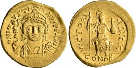 Justin II, 565-578. Solidus (Gold, 20 mm, 4.47 g, 5 h), Constantinopolis, 566/7-578. D N IVSTINVS P P AVI Helmeted and cuirassed bust of Justin II fac...