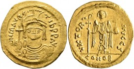 Maurice Tiberius, 582-602. Solidus (Gold, 22 mm, 4.37 g, 5 h), Theoupolis (Antiochia). O N mAVRC TIb P P AVG Draped and cuirassed bust of Maurice Tibe...