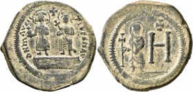 Maurice Tiberius, with Constantina and Theodosius, 582-602. Follis (Bronze, 32 mm, 14.19 g, 7 h), Cherson, 584-602. O N MAVRIC TibЄR P P AVG Maurice T...