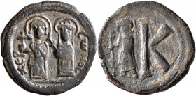 Maurice Tiberius, with Constantina and Theodosius, 582-602. 8 Pentanummia (Bronze, 24 mm, 7.30 g, 7 h), Cherson, 584-608. XЄPCωNOC Maurice Tiberius on...