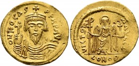Phocas, 602-610. Solidus (Gold, 21 mm, 4.57 g, 7 h), Constantinopolis, 603-607. o N FOCAS PЄRP AVG Draped and cuirassed bust of Phocas facing, wearing...