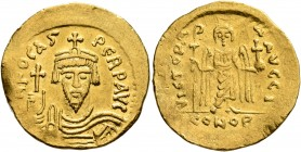 Phocas, 602-610. Solidus (Gold, 21 mm, 4.45 g, 7 h), Constantinopolis, 607-610. δ N FOCAS PERP AVI Draped and cuirassed bust of Phocas facing, wearing...