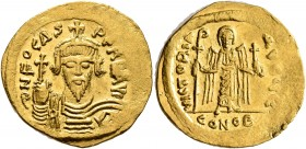 Phocas, 602-610. Solidus (Gold, 22 mm, 4.50 g, 7 h), Constantinopolis, 607-610. δ N FOCAS PERP AVI Draped and cuirassed bust of Phocas facing, wearing...