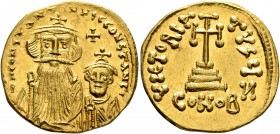 Constans II, with Constantine IV, 641-668. Solidus (Gold, 20 mm, 4.28 g, 7 h), Constantinopolis, 654-659. δ N CONSTANTINЧS C CONSTANTI Crowned and dra...