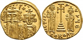 Constans II, with Constantine IV, Heraclius, and Tiberius, 641-668. Solidus (Gold, 19 mm, 4.38 g, 7 h), Constantinopolis, circa 661-663. T Facing bust...