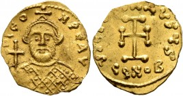 Leontius, 695-698. Tremissis (Gold, 16 mm, 1.33 g, 6 h), Constantinopolis. D LEON PЄ AV Bearded bust of Leontius facing, wearing crown and loros, hold...