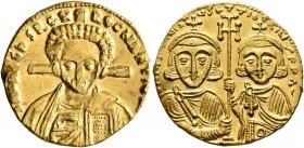 Justinian II, second reign, 705-711. Solidus (Gold, 20 mm, 4.38 g, 7 h), Constantinopolis. δ N IҺS CҺ[S RЄX] RЄGNANTIЧM Draped bust of Christ facing, ...