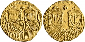Leo IV the Khazar, with Constantine VI, 775-780. Solidus (Gold, 21 mm, 4.42 g, 6 h), Constantinopolis. LЄOҺ VS S ЄςςOҺ COҺSTAҺT O ҺЄOS Crowned and dra...