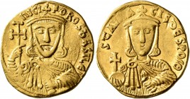 Nicephorus I, with Stauracius, 802-811. Solidus (Gold, 20 mm, 4.42 g, 5 h), Constantinopolis, 803-811. ҺICIFOROS bASILЄ' Crowned and draped bust of Ni...