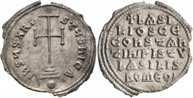 Basil I the Macedonian, with Constantine, 867-886. Miliaresion (Silver, 25 mm, 2.62 g, 12 h), Constantinopolis. IҺSЧS XRISTЧS ҺICA Cross potent set on...
