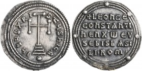 Leo VI the Wise, with Constantine VII, 886-912. Miliaresion (Silver, 25 mm, 3.04 g, 1 h), Constantinopolis. IҺSЧS XRISTЧS ҺICA Cross potent set on thr...
