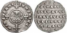 John I Zimisces, 969-976. Miliaresion (Silver, 21 mm, 2.35 g, 6 h), Constantinopolis. +IҺSЧS XRISTЧS ҺICA✷ Cross crosslet set upon globe above two ste...
