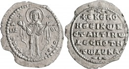 Constantine X Ducas, 1059-1067. Miliaresion (Silver, 22 mm, 1.40 g, 6 h), Constantinopolis. +ΘKЄ ROHΘ Virgin Mary orans, standing facing on footstool,...