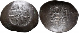 Isaac II Angelus, first reign, 1185-1195. Aspron Trachy (Bronze, 31 mm, 4.32 g, 6 h), Constantinopolis. Virgin Mary, nimbate, seated facing on square-...