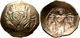 Andronicus II Palaeologus, with Michael IX, 1282-1328. Hyperpyron (Electrum, 26 mm, 4.53 g, 6 h), Constantinopolis, 1294-1320. Bust of Virgin Mary, or...