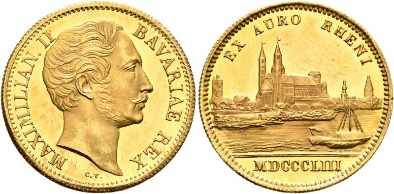 GERMANY. Bayern. Maximilian II, 1848-1864. Ducat (Gold, 21 mm, 3.49 g, 12 h), 18...