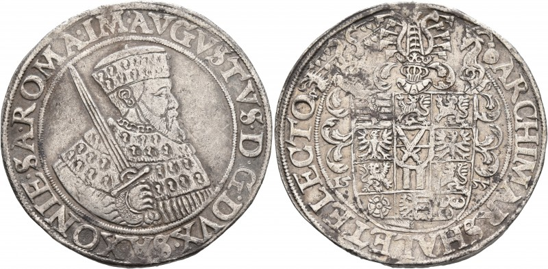 GERMANY. Sachsen. August, 1553-1586. Taler (Silver, 41 mm, 28.77 g, 7 h), Annabe...