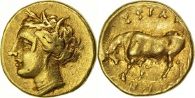 SICILY. SYRACUSE (274-216 BC) 25 Litra 1.42 g. Obv/ Head of Persephone on the left. Rev/ SYRAKOSYON Bull to the left. SNG Cop. 752 RARE Very Fine