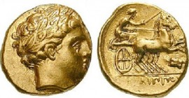 MACEDONIA. PHILIPP II (359-336 BC) Stater 340-328 BC Amphipolis 8.6 g. Obv/ Laureate head of Apollo right. Rev/ Biga with driver right, thunderbold as...