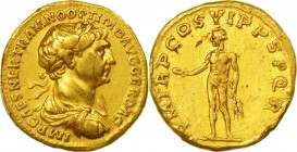 TRAJAN (98-117 AD) Aureus Rome 114-117 AD 7.10 g. Obv/ IMP CAES NER TRAIANO OPTIMO AVG GER DAC laureate, draped and cuirassed bust right. Rev/ P M TR ...