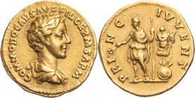COMMODUS Caesar (166-177 AD). Aureus Rome 175/176 AD. Obv/ COMMODO CAES AVG FIL GERM SARM, draped bust right. Rev/ PRI-NC IVVENT, Commodus stands with...