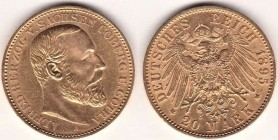 GERMANY. SACHSEN-COBURG-GOTHA. ALFRED (1893-1900) 20 Mark 1895. Friedberg 3853 VERY RARE Good Extremely Fine small scratches