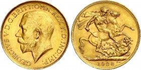 SOUTH AFRICA. GEORGE V (1910-1936). Sovereign 1928 SA Pretoria. Friedberg 5 Good Extremely Fine to UNC