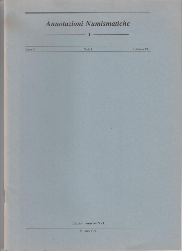 ANNOTAZIONI NUMISMATICHE. Complete year 1991, 4 volumes (sold as it, returns are...