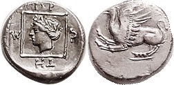 R ABDERA , Tetrobol, 415-395 BC, Griffin springing left/ Dionysos head l in squa...