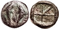 AIGINA, Æ12, 370-350 BC, 2 Dolphins/incuse divided in 5 parts, VF, well centered, darkish green-&-brown patina, minor roughness on rev but everything ...
