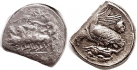 AKRAGAS , Tetradrachm, 409-406 BC, fast quadriga left, grape vine above/2 eagles on hare left, head of river god to rt, sim. S-750 ( £6500 ), cut to T...