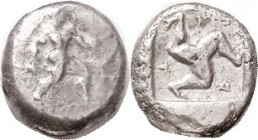 ASPENDOS , Stater, 465-430 BC, Warrior adv rt with spear & shield/triskeles in incuse square, S5381 ( £750 ). F-VF or so, normally a crude issue, imag...